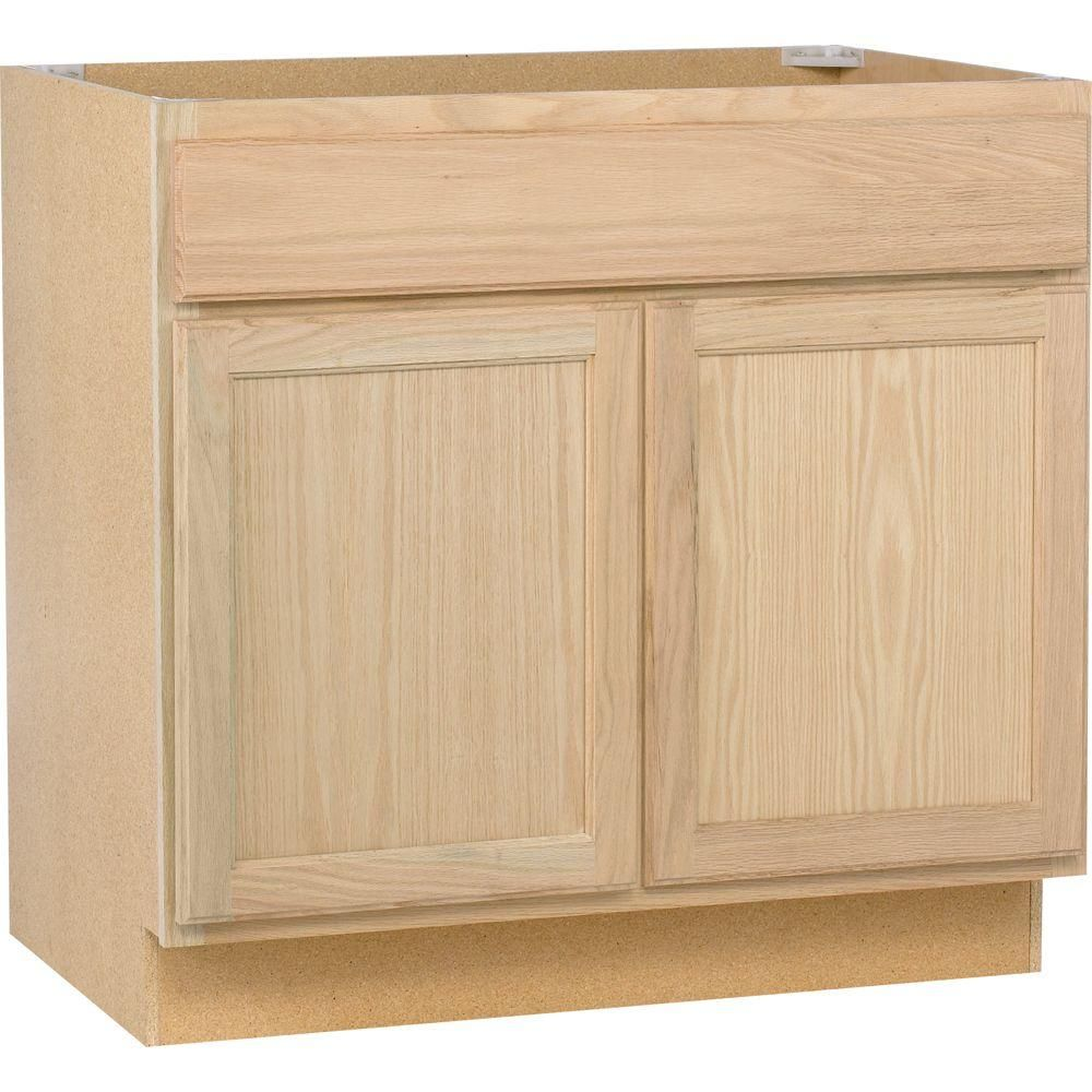 36x34 5x24 In Sink Base Cabinet In Unfinished Oak Sb36ohd The Home Depot Home Depot Bathroom Unfinished Kitchen Cabinets Home Depot Kitchen