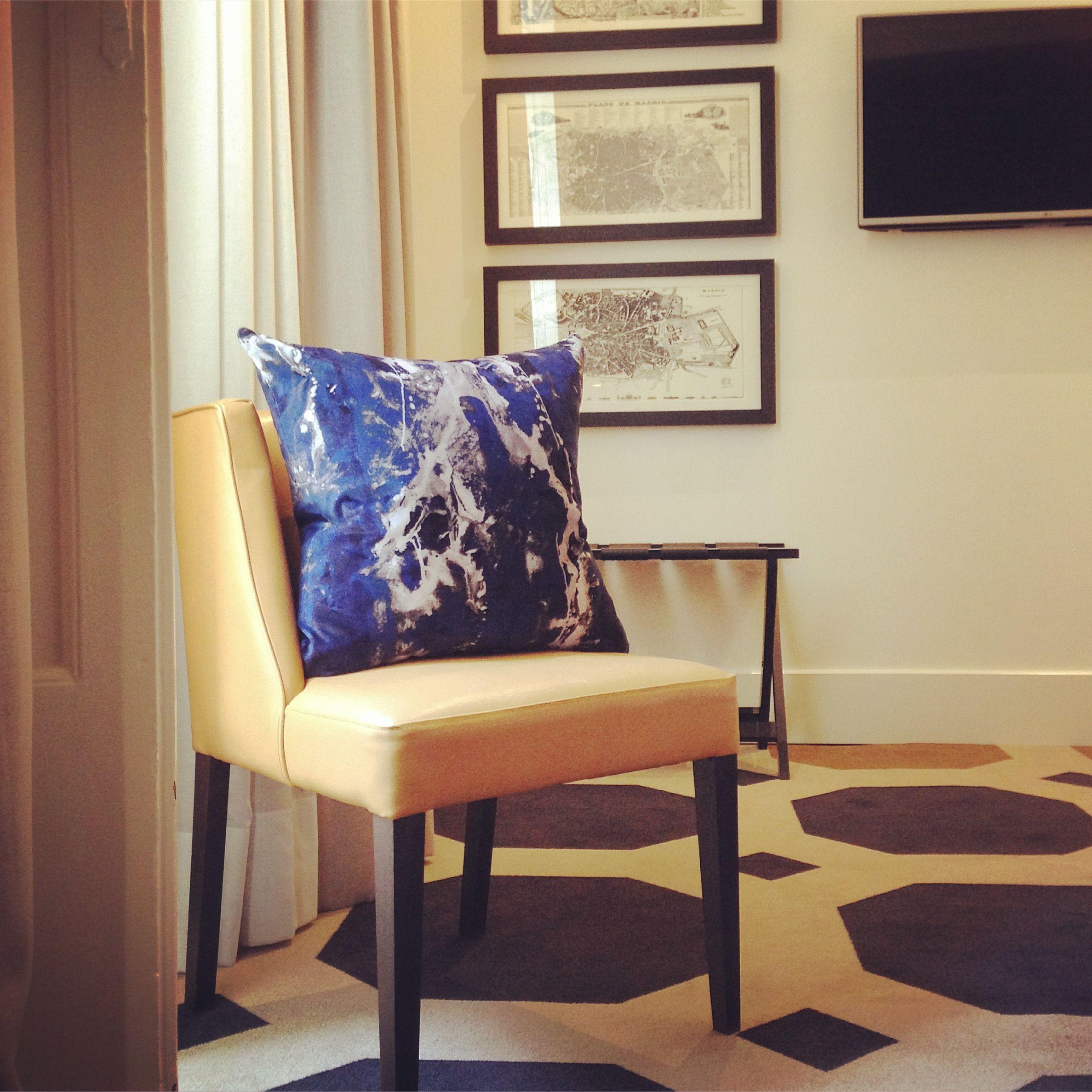 Blotto navy cotton velvet cushion soft furnishings