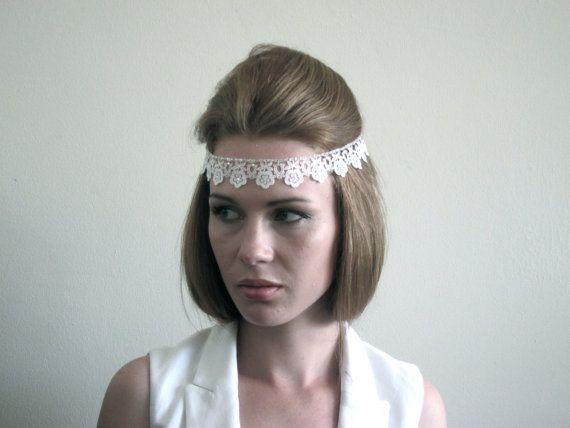 Ivory / White Lace Art Deco Headband  - Great Gatsby Headband - daisy Buchanan - 1920s Headband