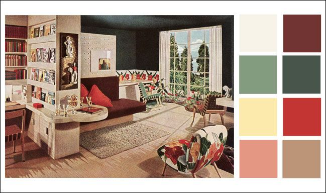 Mid Century Modern   Color Schemes   1946 Armstrong Linoleum   Color Scheme    Hunter · Living Room ...