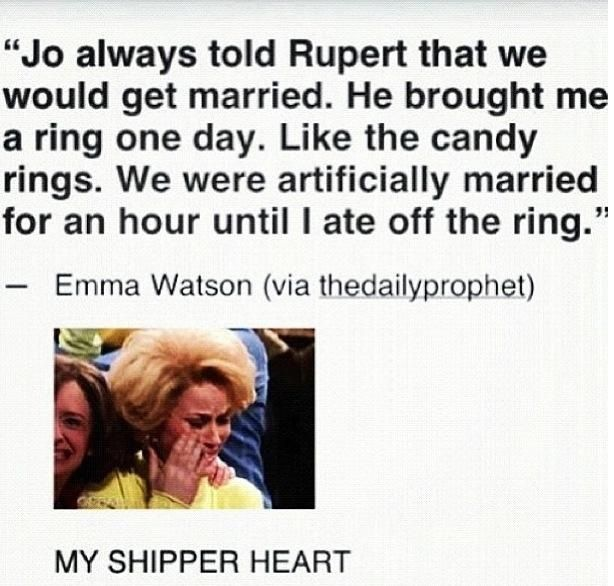 Not only is this adorable, it implies that while Jo did contemplate having Hermione wind up with Fred, by the time the movie process started she had most likely decided it would be Ron after all.