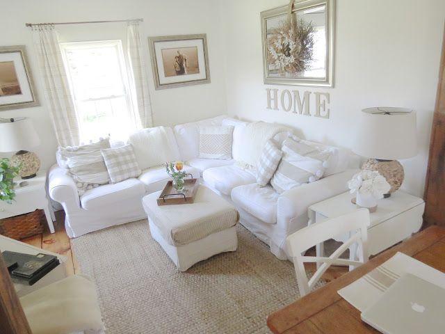 Ikea Ektorp sectional sofa, blekinge white, Ikea ottoman, pillows - ikea ektorp gra