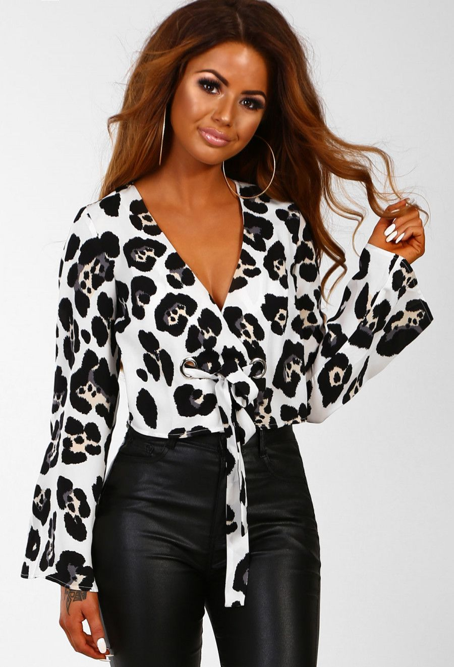 9ea07865eb9 In The Jungle White Leopard Print Tie Front Wrap Crop Top | Pink Boutique