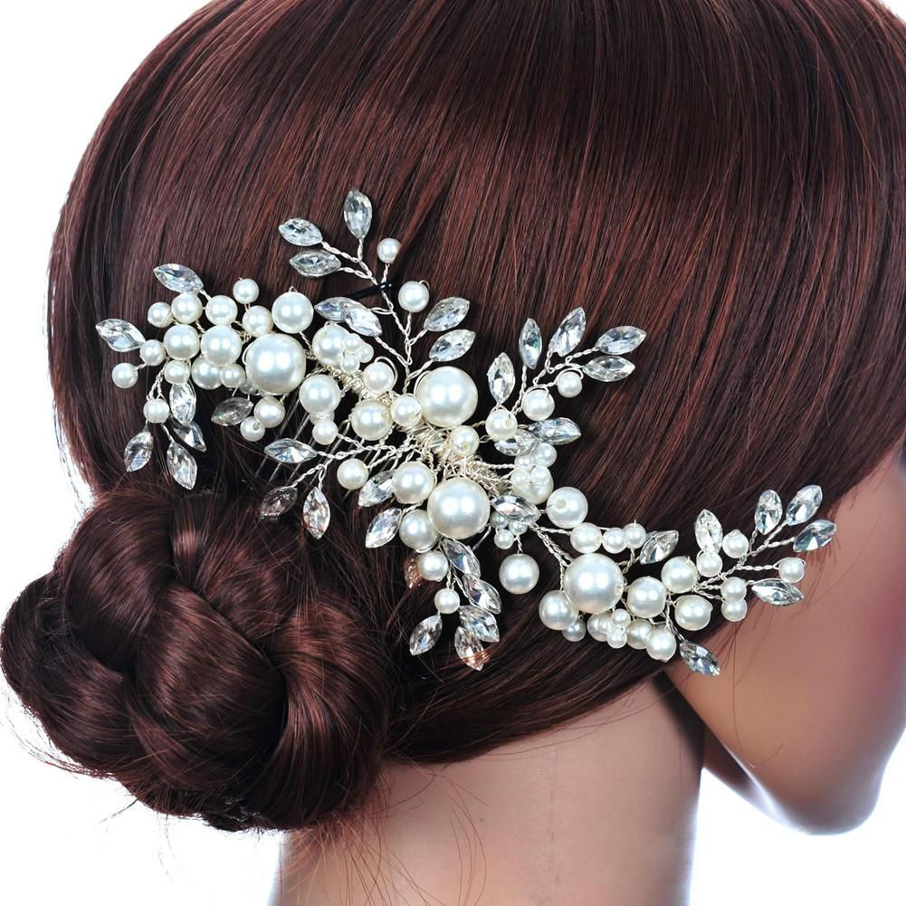 beautiful crystal pearl flower bridal crown hairpin barrettes | products