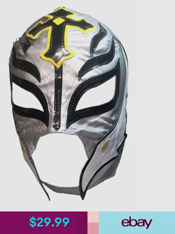 Wwe Rey Mysterio Kid Size Silver With Black Trim Replica Mask Black Trim Sports Skirts Black