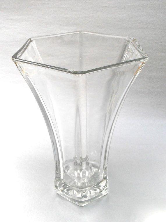 Vintage Hoosier Tall Panel Glass Vase 4041 Clear Press Hexagon Seam