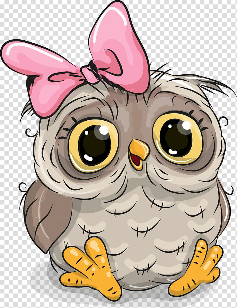 Owl Cartoon Illustration Illustration Cute Owl Baby Owl With Pink Bow Transparent Background Png Clipart Cute Owl Cartoon Baby Owls Owl Cartoon