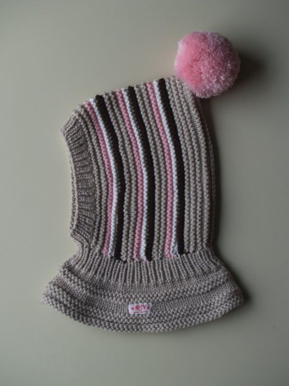 Beige Merino Pixie Balaclava Baby/Toddler/ Girl Hoodie hat with Pom Pom in Beige, pink, brown and white stripes.Size 6-12m / 1-3-6-10 years