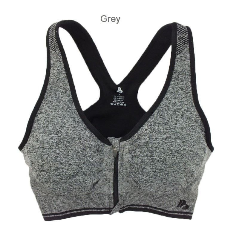 Womens Padded zipper Sports Bra Plus size sports bras
