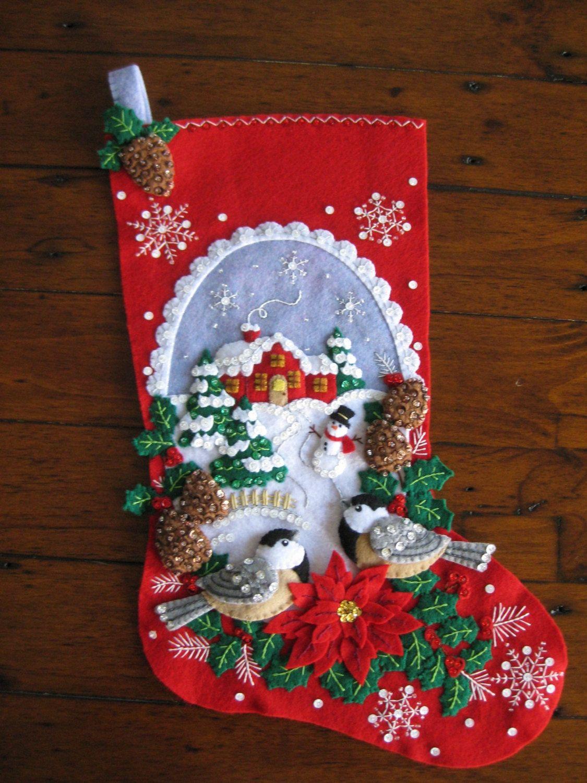 Bucilla Chickadee Stocking - Completed   Felt/Fabric   Pinterest