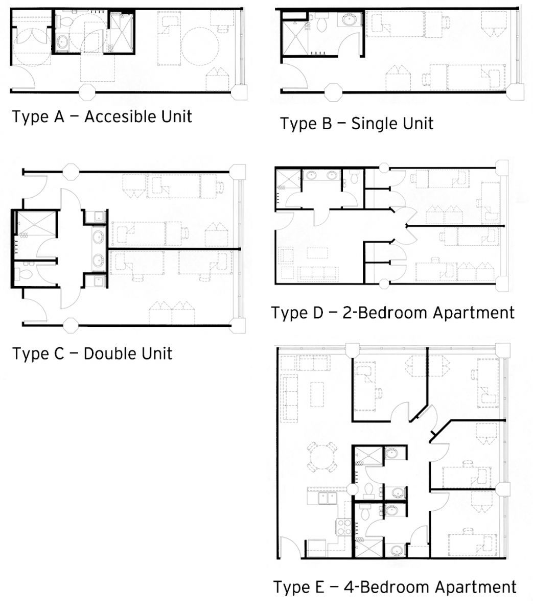 Click here to see the layouts for each dorm room type. Click here to see the layouts for each dorm room type    Skool