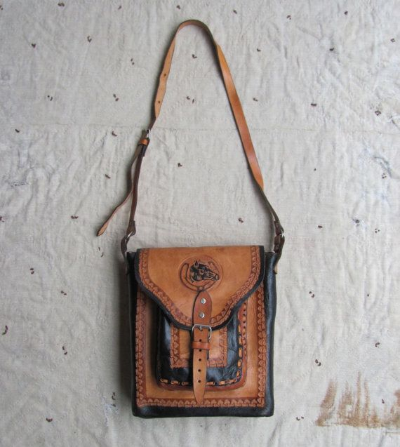 b92d752736 vtg 70s black and tan tooled leather saddle bag w  lucky horseshoe and horse  head motif