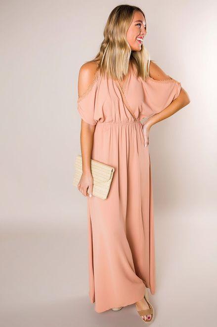 dd99a44f73299 Peach Kimono Sleeve Maxi - Dottie Couture Boutique
