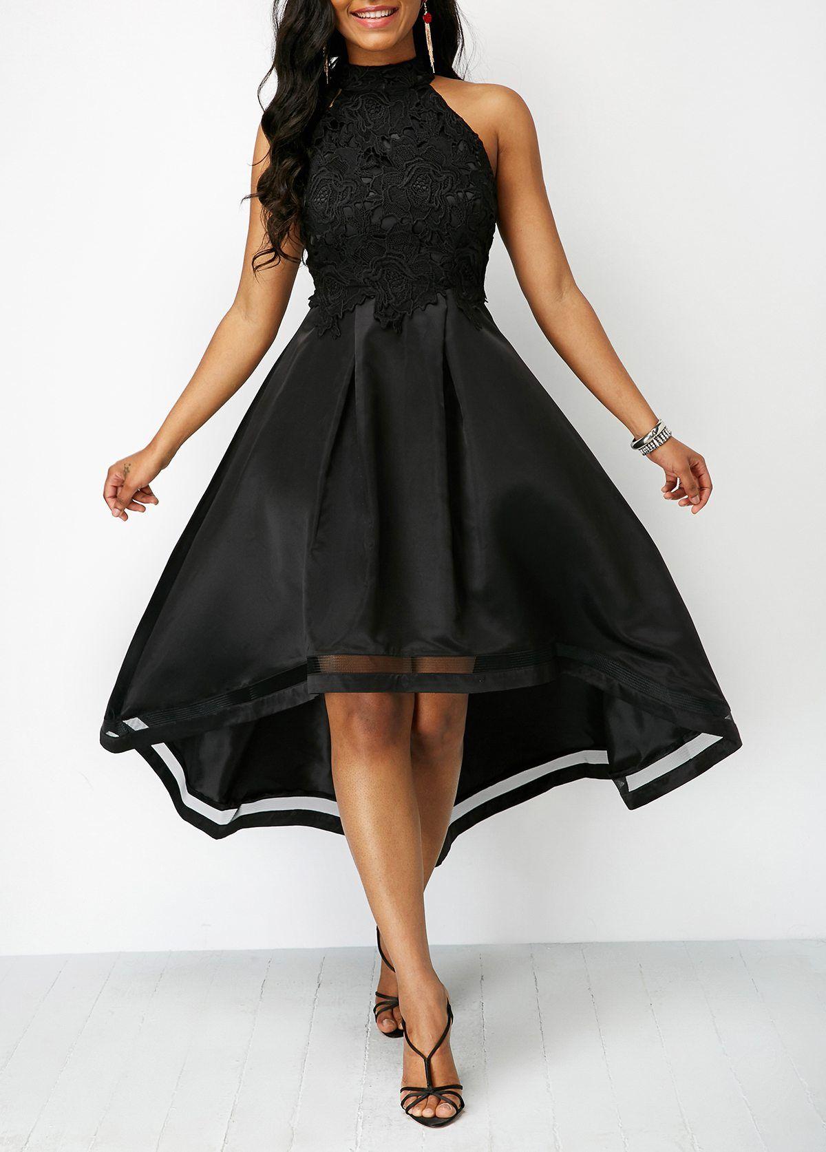 Lace Panel Sleeveless Black High Low Dress  138c70e64c
