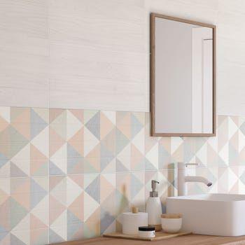 Decor Mur Forte Bois Multicolore Satine L 25 X L 60 Cm Scandinave Leroy Merlin En 2020 Design De Salle De Bain Carrelage Salle De Bain Salle De Bain Blanche