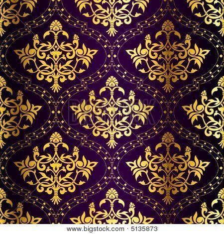 Gold damask wallpaper