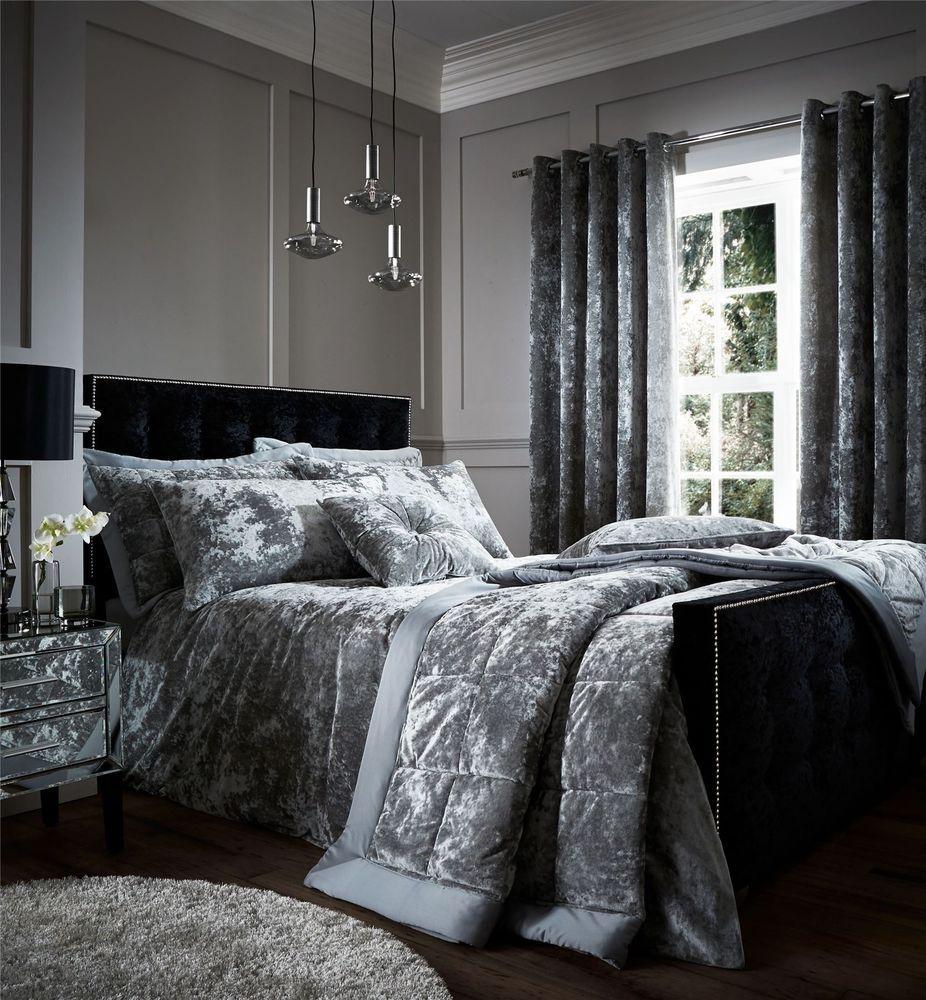 Crushed Velvet Duvet Quilt Cover Set, Bed Linen Double King Size ...