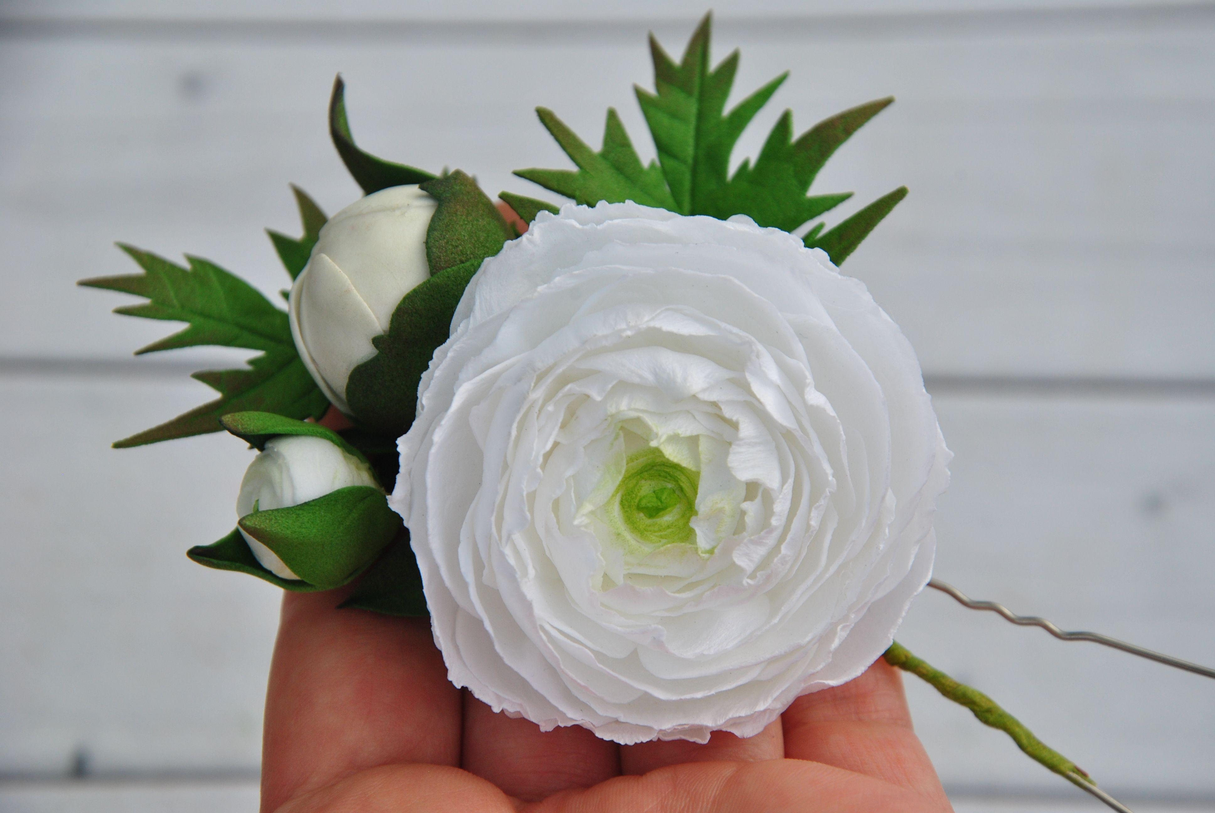 White Flower For Hair Wedding Hairpin Ranunculus Hair Piece Greenery