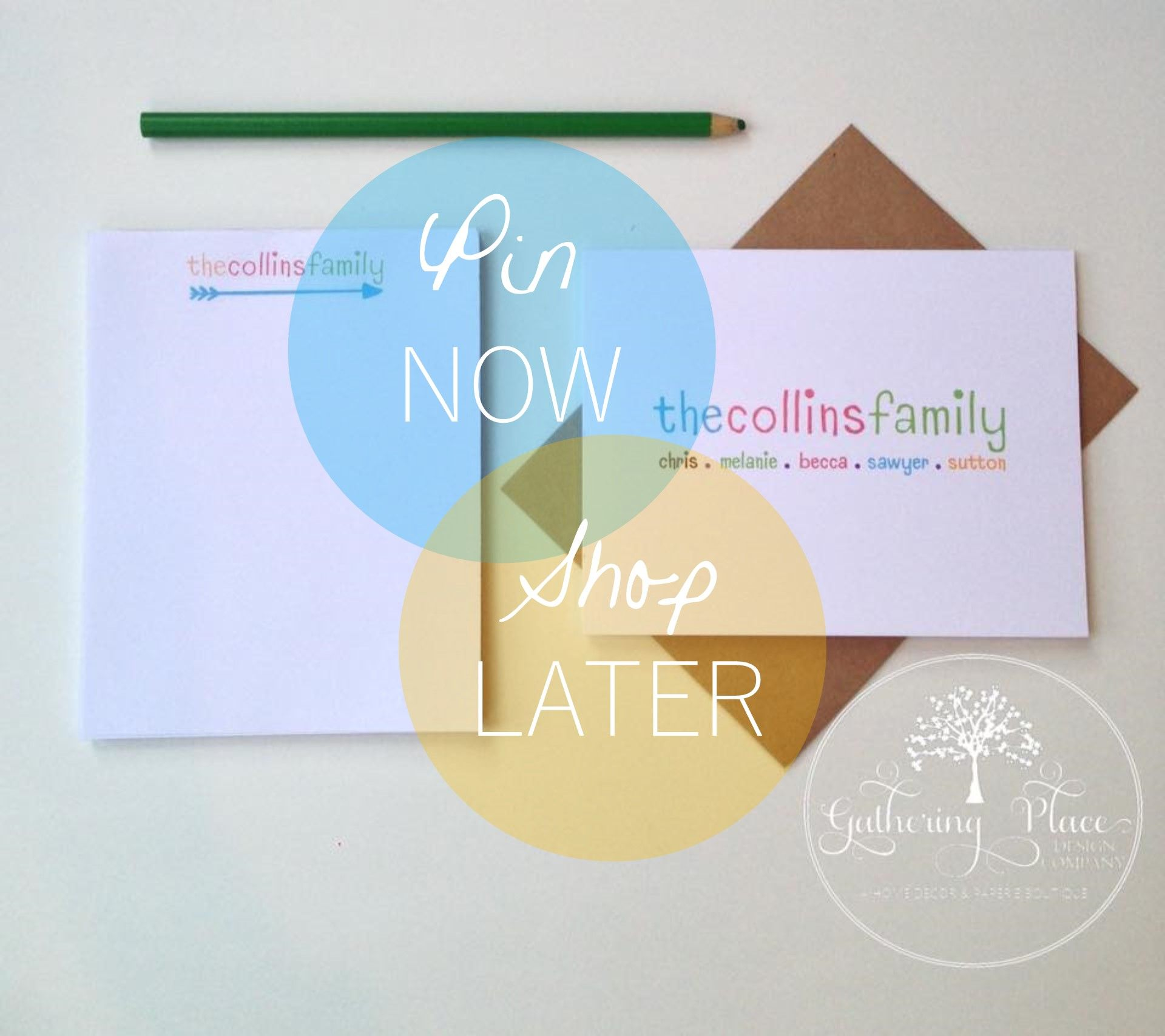 Personalized Stationery Gift Set from the Happy Life Collection by The Gathering Place Design Company.  Perfect gift for Teachers, Wedding, New Baby, New Home, Retirement, Birthday.  Shop more designs at etsy.com/shop/thegatheringplaceco   https://www.etsy.com/your/shops/thegatheringplaceco/tools/listings/266273325