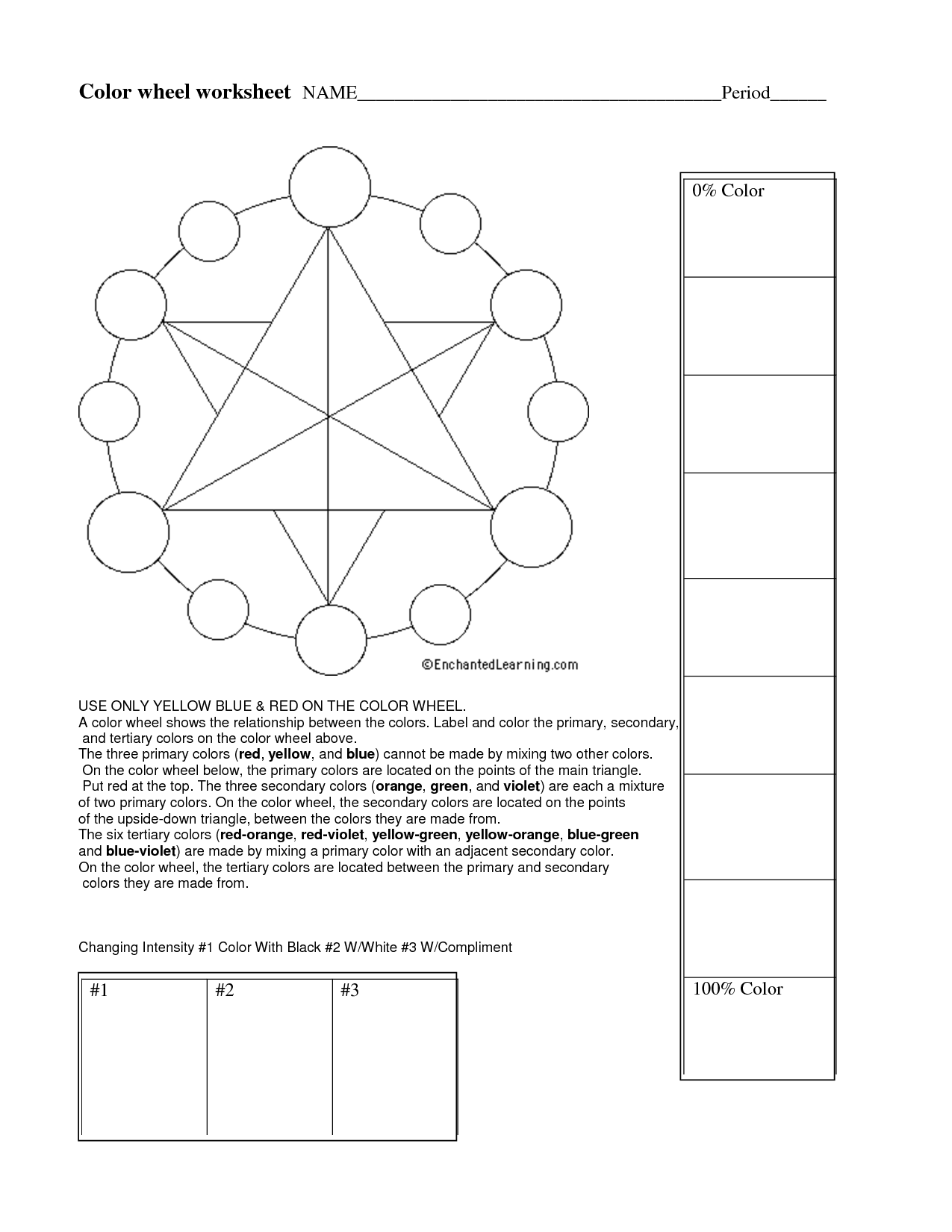 color theory Worksheet Elements of art color, Color