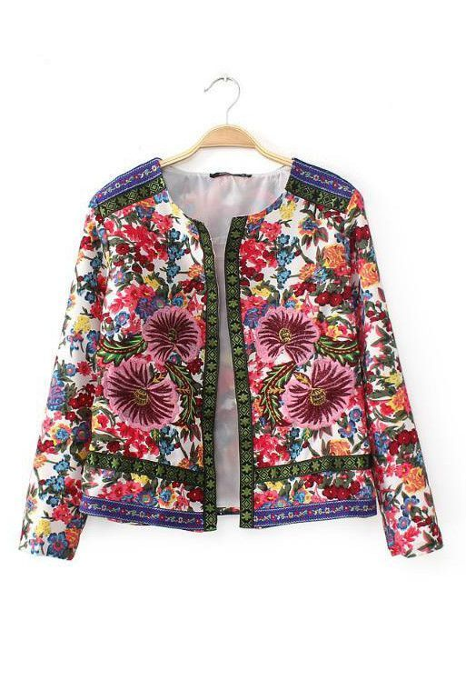 New Fashion Ladies' Vintage floral embroidery jacket coat long sleeve  outwear non-button Cardigan casual slim brand design