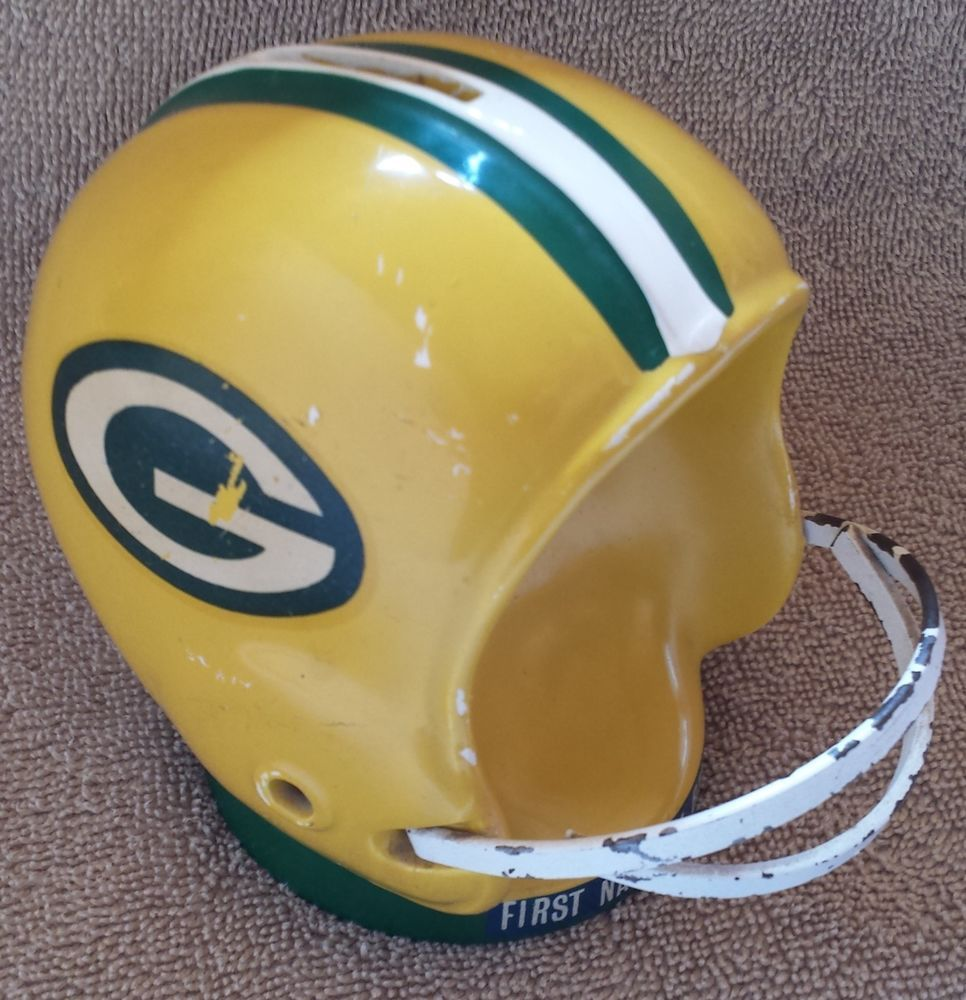 Vintage Green Bay Packers Football Helmet Mini Collectible Nfl Ceramic Toy Bank Packers Football Football Helmets Green Bay Packers Football