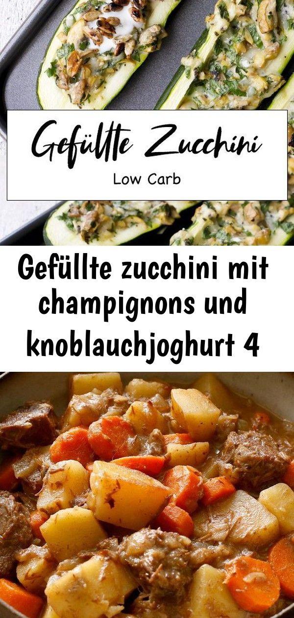 Gefüllte zucchini mit champignons und knoblauchjoghurt 4 Gefüllte Zucchini mit Champignons und Knoblauchjoghurt  ein einfaches Low Carb Rezept für den Feie...