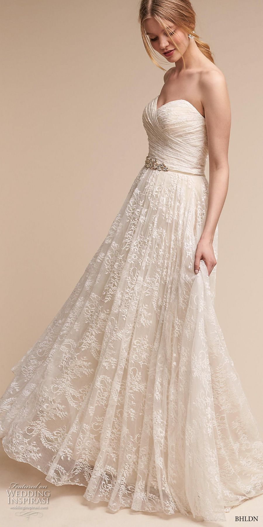 Bhldn Spring 2017 Bridal Strapless Wrap Over Ruched Bodice A Line Wedding Dress Short Train Freesia Mv S Neo Bohemian Dresses