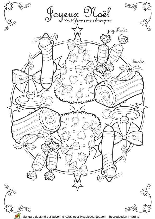Coloriage / dessin Mandala de Noël classique avec les papillotes, la ...