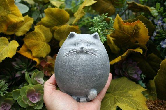 Exceptionnel Fat Cat Statue   Abstract Concrete Kitty   Zen Cat   Outdoor Garden Decor
