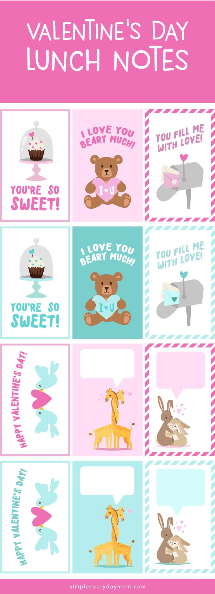 Printable Valentines Lunch Notes for kids | Send a little extra love ...