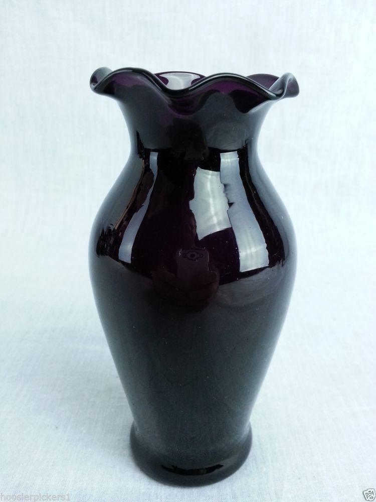 Vintage Black Amethyst Glass Round Ruffled Edge Vase Hand Shaped 5 1