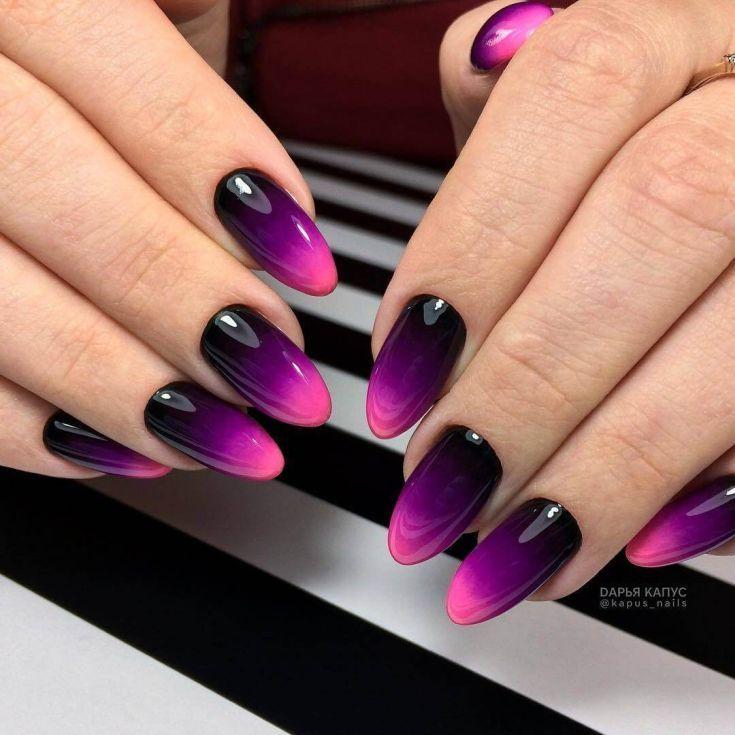 Modern Ideas For Nail Design Autumn Winter 2018 Fashionre Oval Nails Designs Ombre Nail Designs Purple Ombre Nails