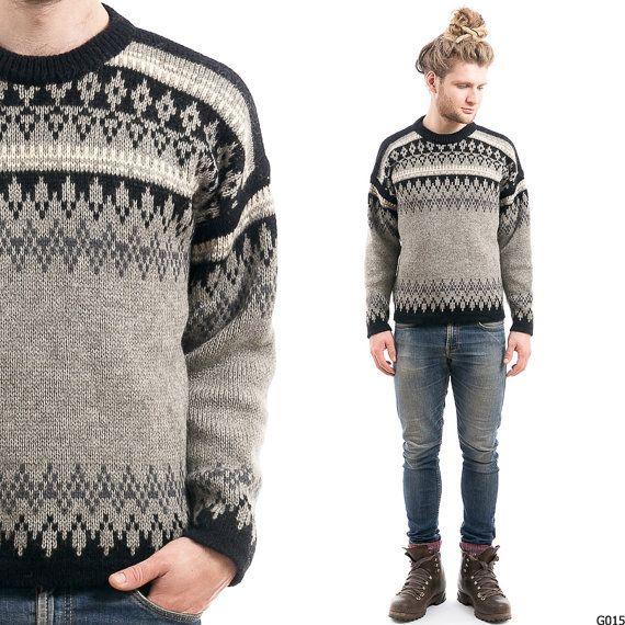 Vintage FAIR ISLE Sweater . Mens Turtleneck 1970s Norwegian ...