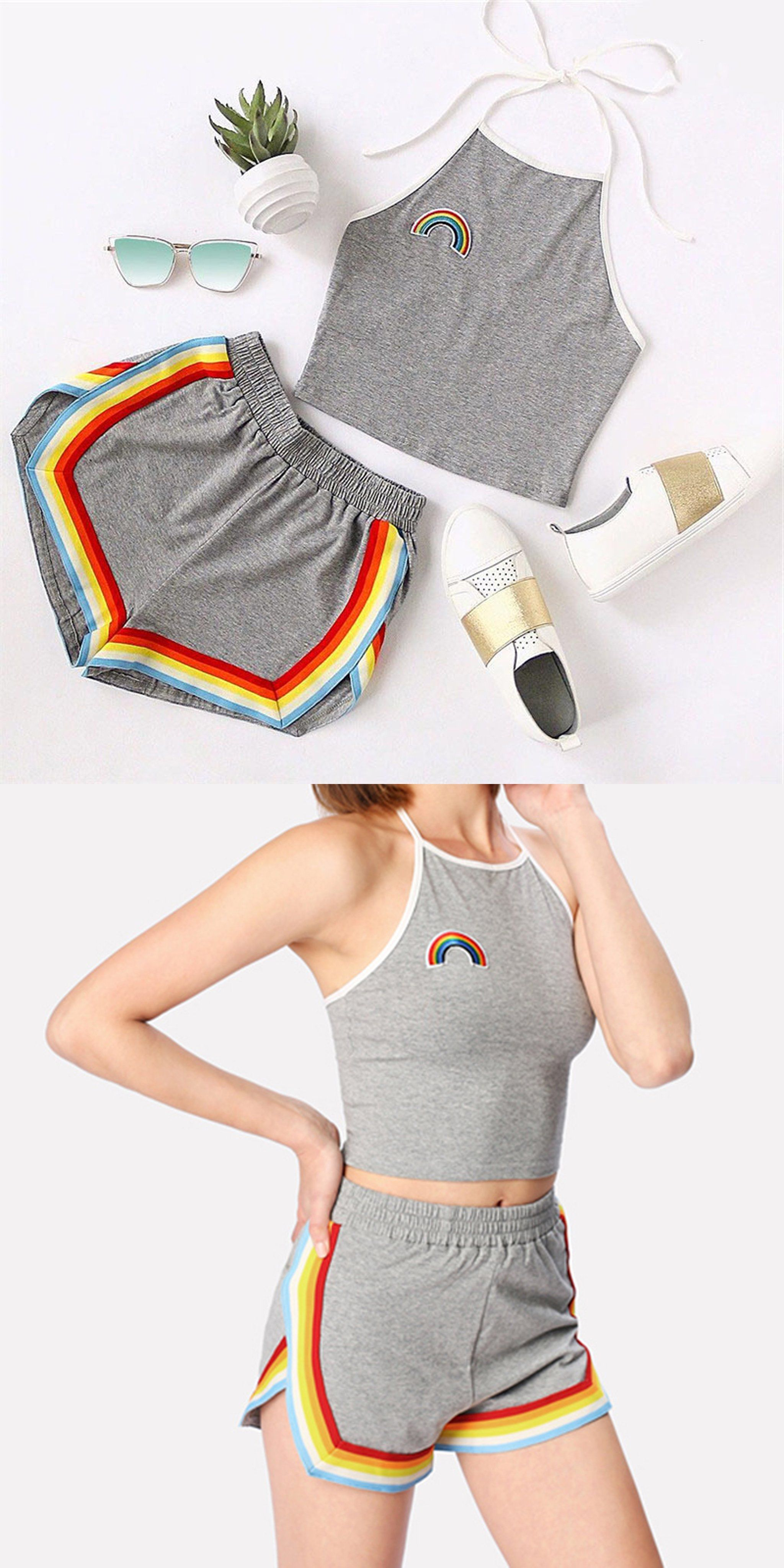 aea8925f5675aa Cute Summer Outfits for Teen Girls Casual Girly Rainbow Beach Halter Top  with High Waisted Shorts Matching Set - www.GlamantiBeauty.com #summerstyle  # ...