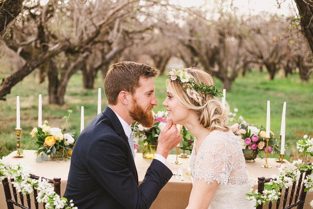 Outdoor Wedding Inspiration Shoot In Utah USA With Beautiful Spring Flowers From La Belle Fleur And Images By Madie Allen Photography And Ashleigh Brown Photography #utahusa