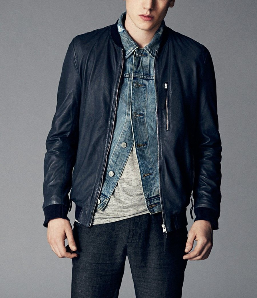 Allsaints Hakonie Leather Bomber Jacket Leather Outerwear Mens Style Guide Leather Shirt [ 1045 x 900 Pixel ]