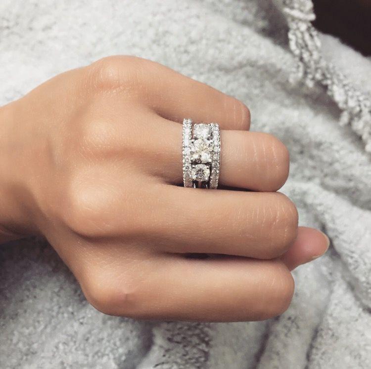 Bridal Stack 18ct White Gold Round Trilogy Engagement Ring And Diamond Set Wedding Ring Trilogy Engagement Ring Three Stone Engagement Rings Wedding Ring Sets