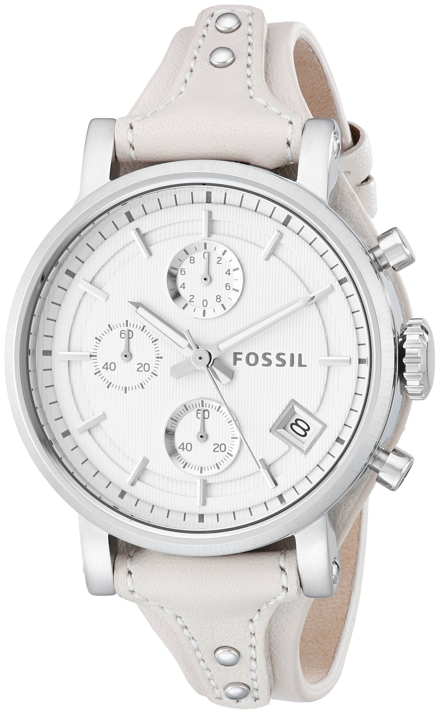 24aa6c861e7 Fossil Women s ES3811 Original Boyfriend Stainless Steel Watch with White  Leather Band