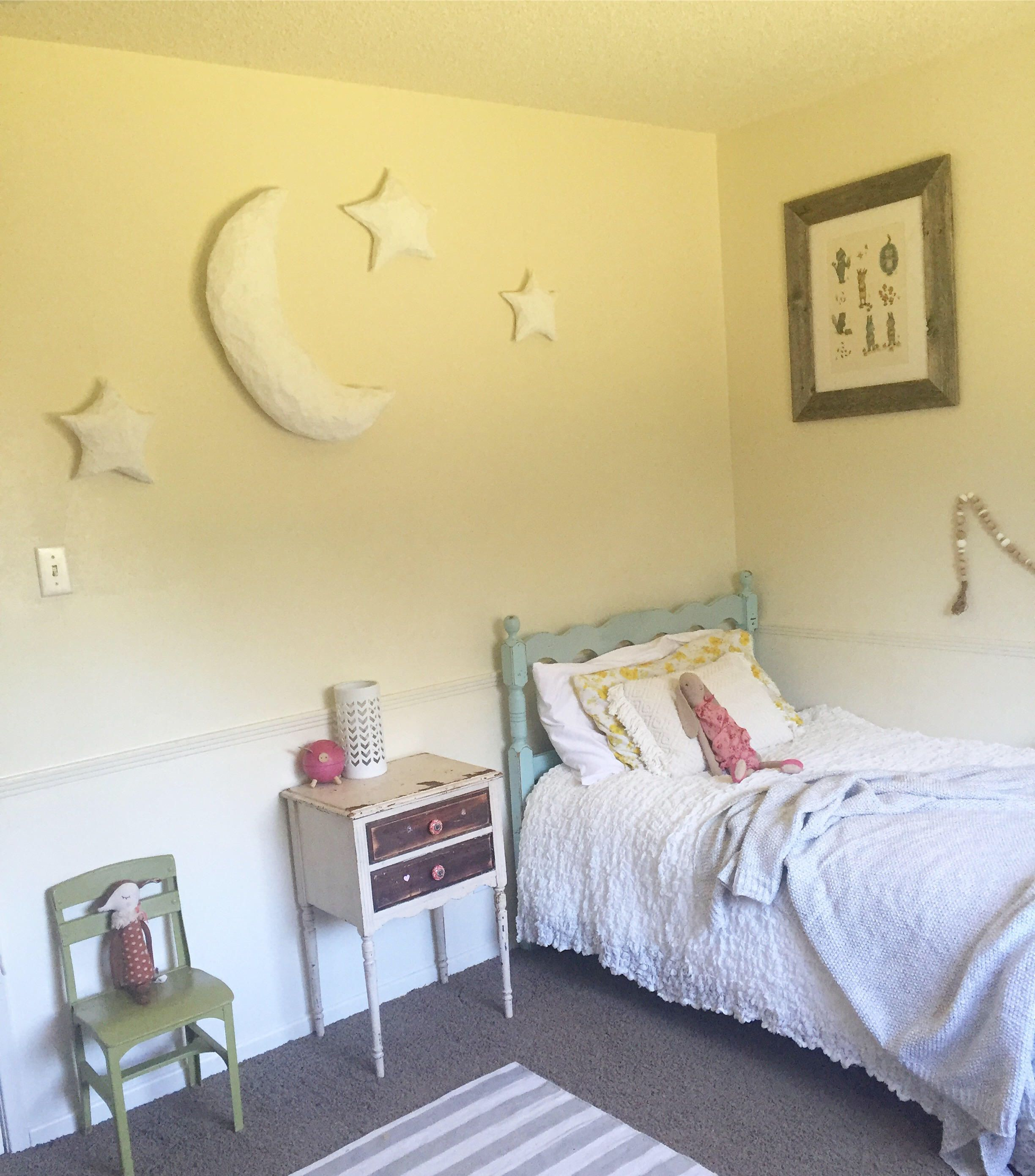 Paper Mâché Moon and Stars Nursery/Children Room Decor, Mobile/Wall ...