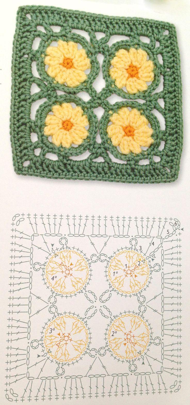 Square crochet flower pattern | Crochet muestras | Pinterest ...