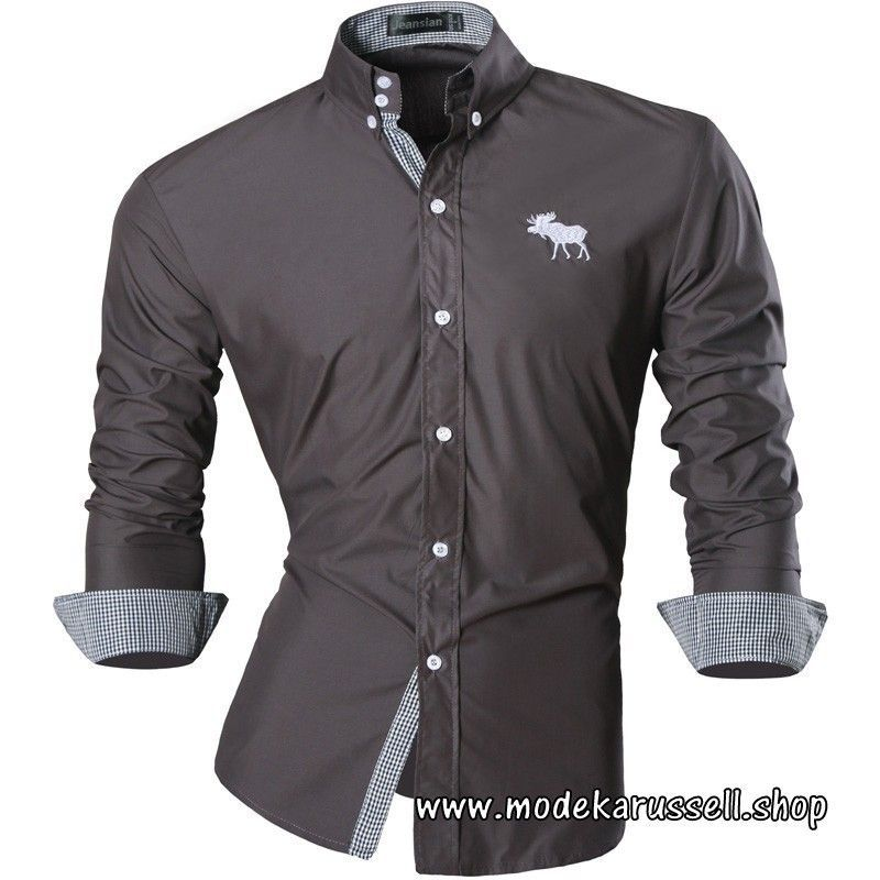 low priced 6b4ad 72e18 Langarm Herren Hemd in Grau mit Stick #menswear #herren ...