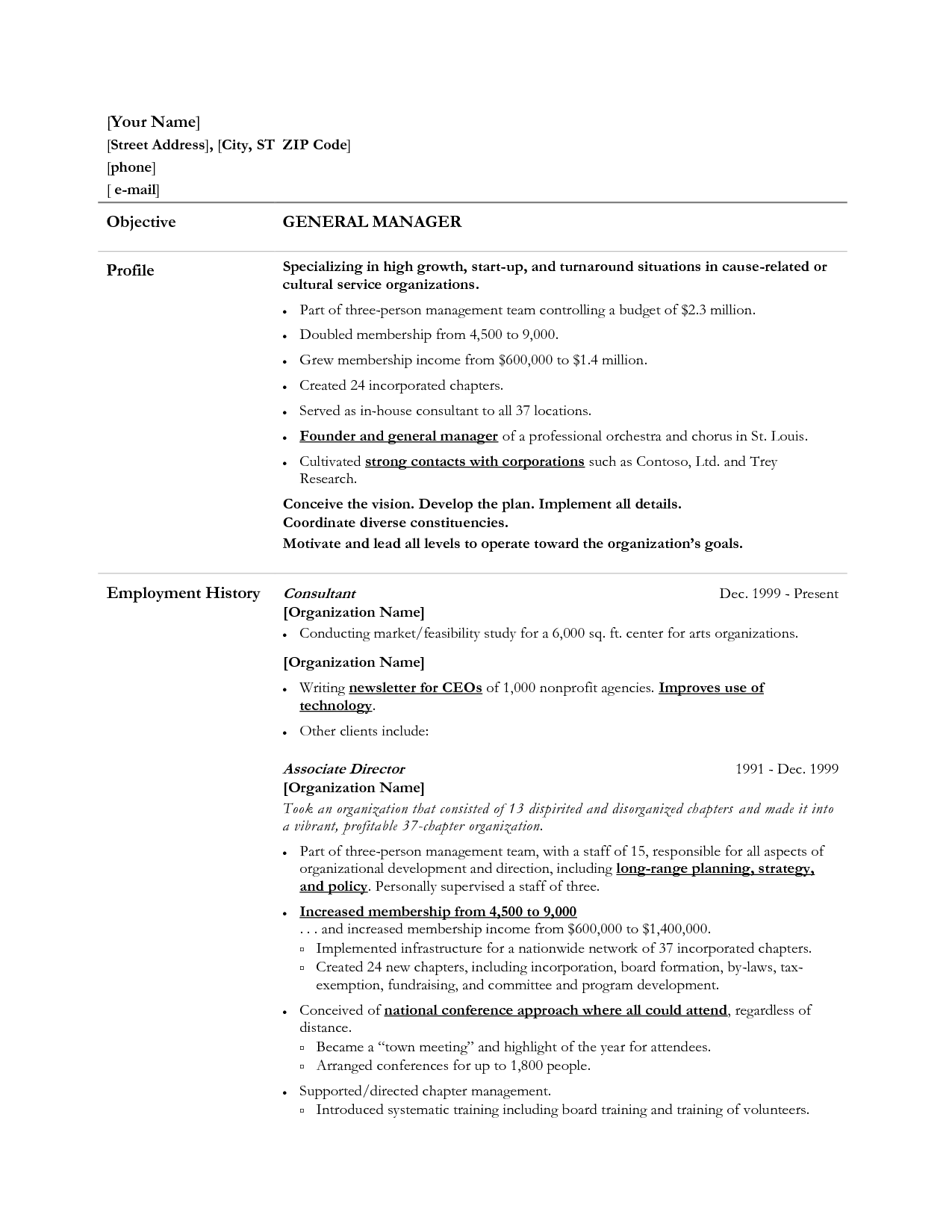 Objective For Job Resume General Manager Resume Example  Httpwwwresumecareer