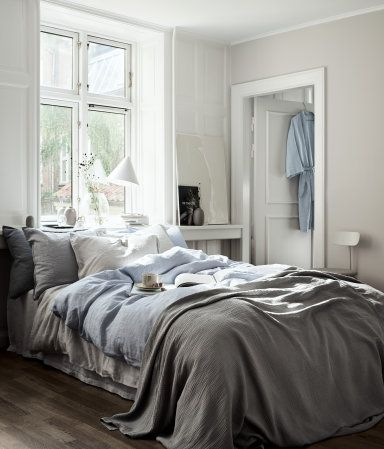 bettwäsche aus leinen | hellblau | home | h&m at | schlafzimmer