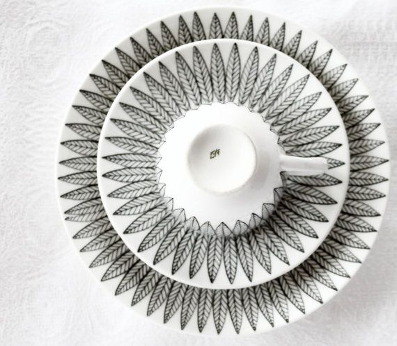 """Stig Lindberg, Sweden. """"SALIX"""", black. Cup/saucer and cake plate original production line1954-1965."""
