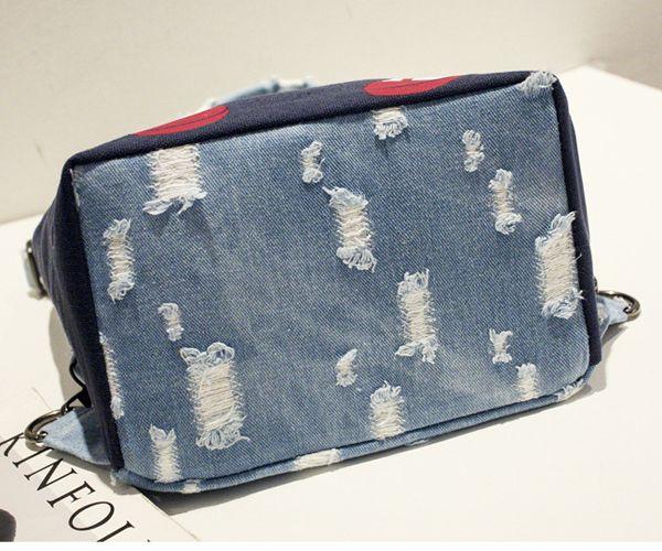Women Multifunctional Interesting Handbag Canvas Denim Print Vintage Backpack Shouleder Bag