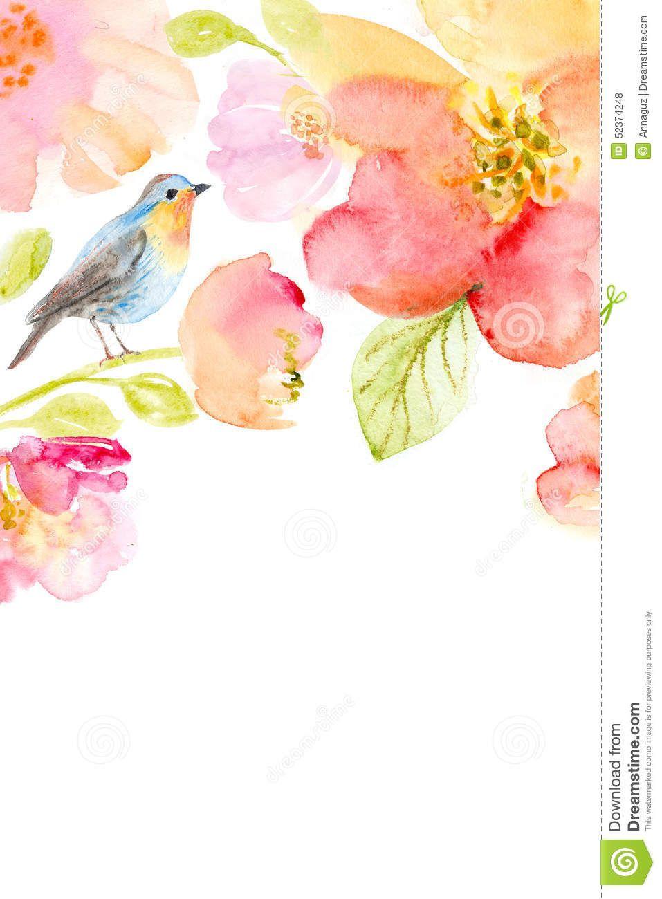Floral Watercolor Background Beautiful Flowers Flower Birds
