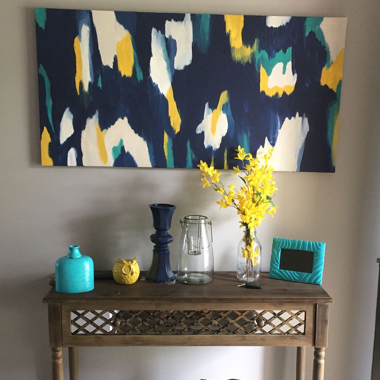 My home Yellow Gray Turquoise and Navy  For the Home
