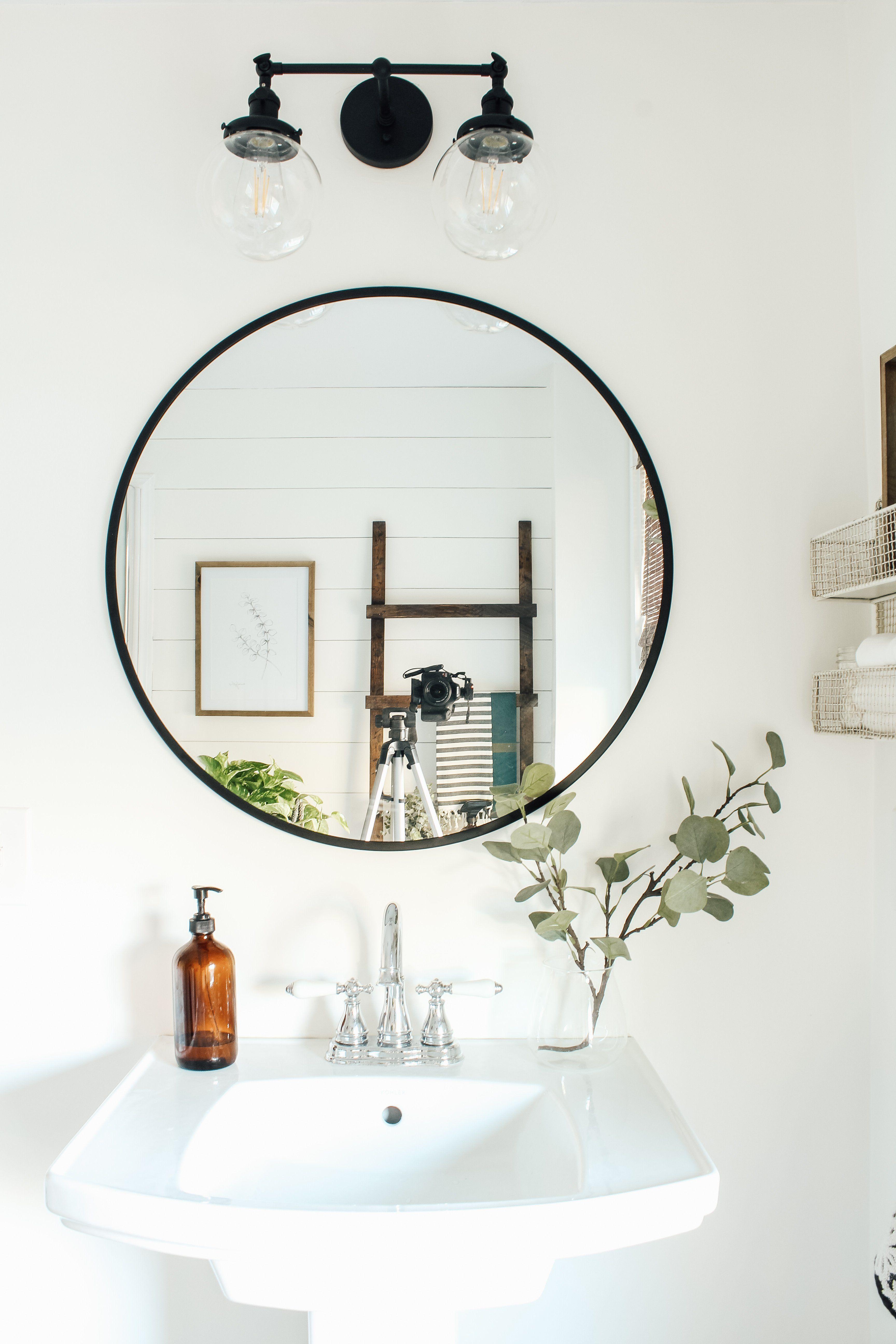Small Bathroom Makeover Small Bathroom Makeover Round Mirror Bathroom Bathroom Makeover [ 5184 x 3456 Pixel ]