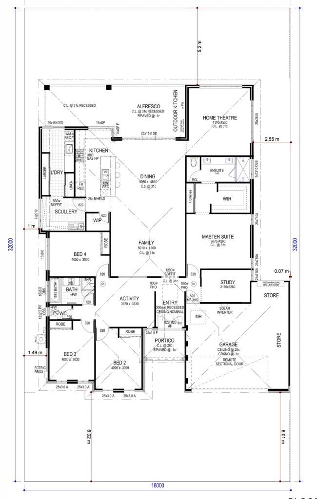 Floor plan friday 4 bedroom study home theatre for Outdoor kitchen floor plans